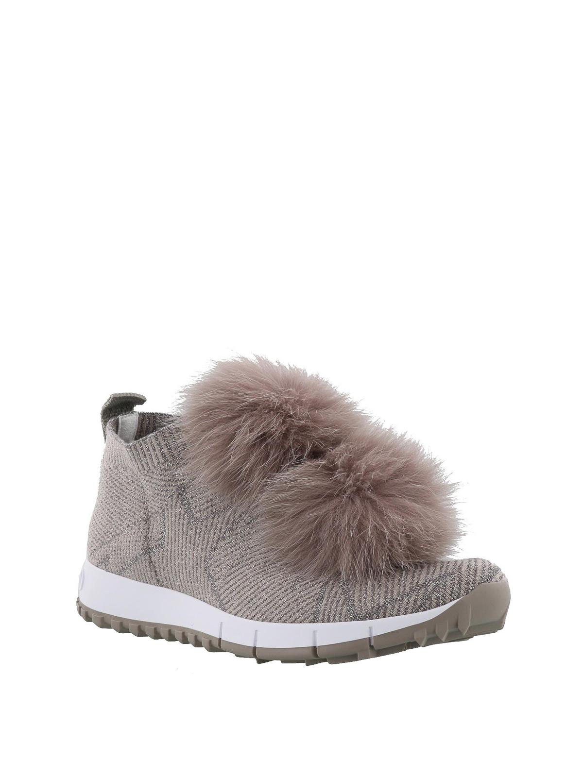 d87206266d96 JIMMY CHOO  trainers online - Norway fox fur pompom slip-on shoes