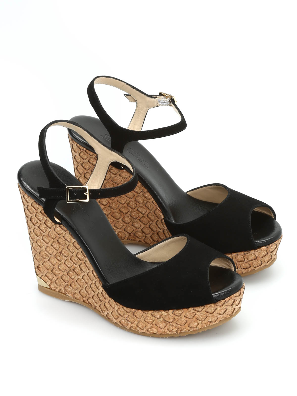 76caa9d0c183 Jimmy Choo - Perla suede and cork wedges - sandals - PERLA 120 DKW BLACK