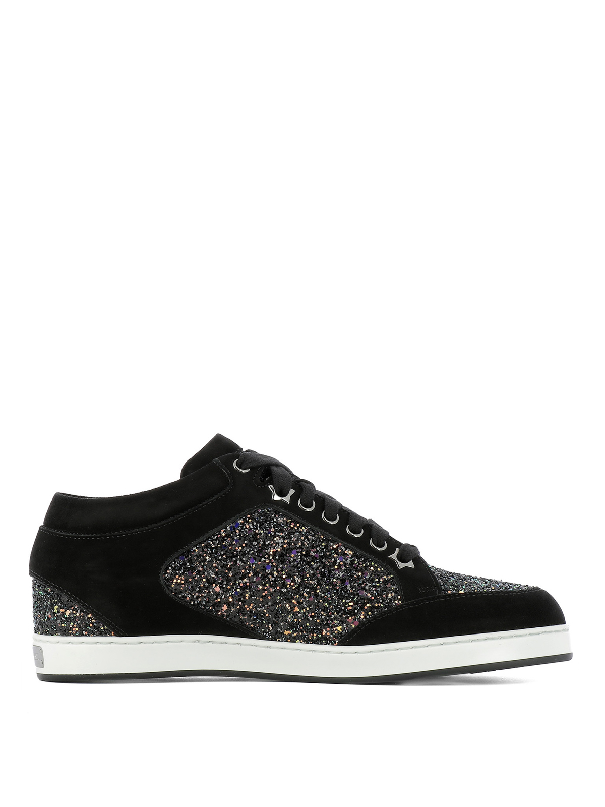 Jimmy Choo Miami Suede And Glitter Sneakers Trainers