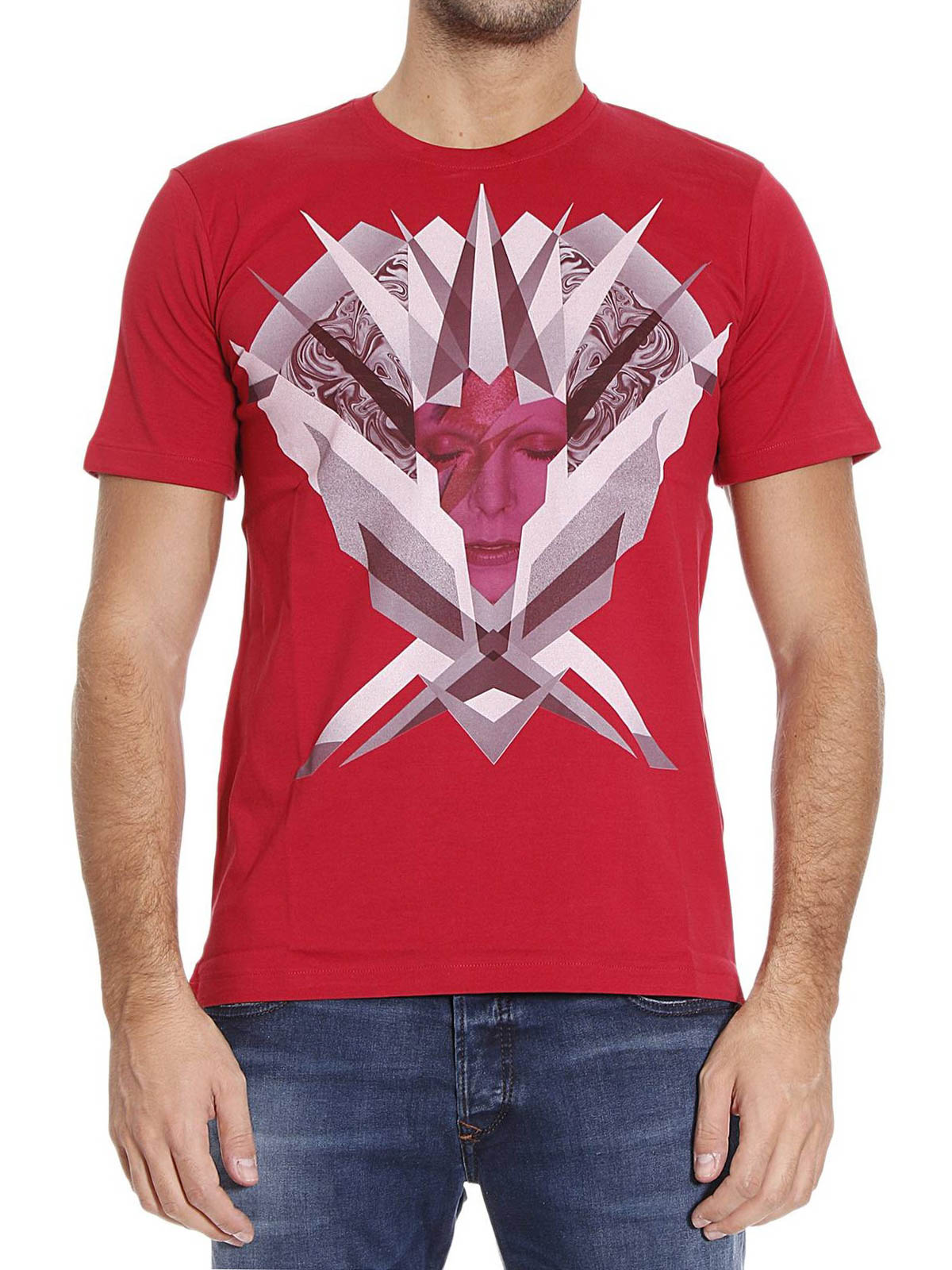 David bowie printed cotton t shirt by john richmond t for T shirt printing richmond va