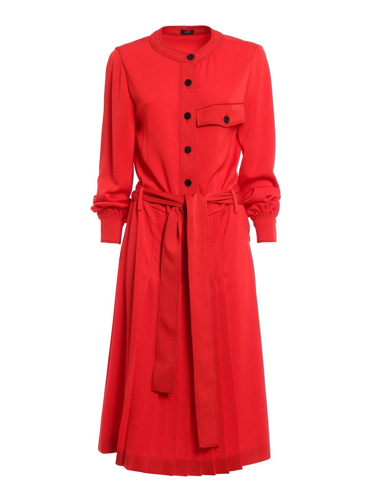 80668d25b807aa Joseph - Knielanges Kleid Ash - Rot - Knielange Kleider ...
