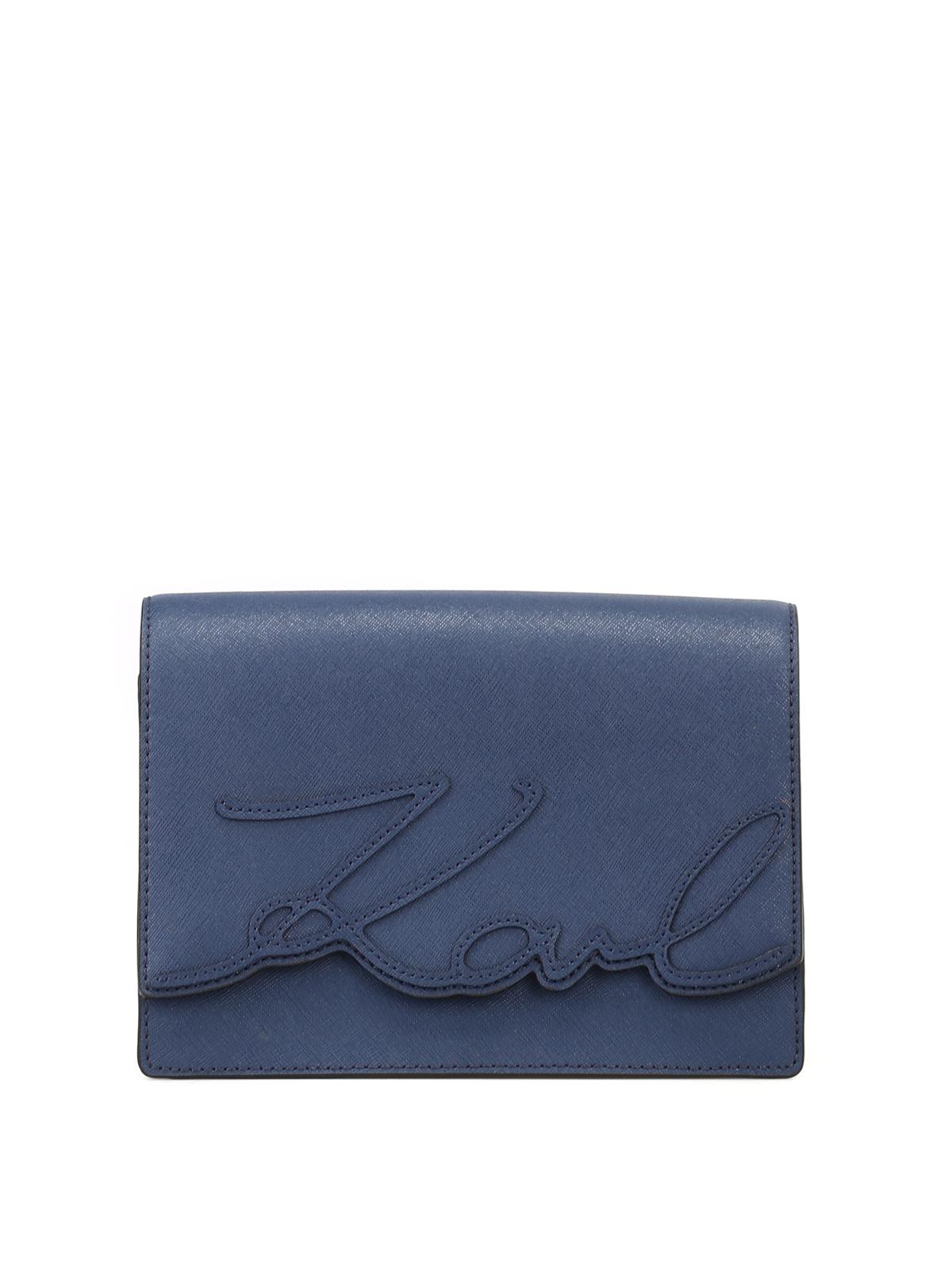 Prix Pas Cher Marchand Karl Signature Lagerfeld Saffiano Bleu Crossbody Vente De L'arrivée Pas Cher Nice Prix Pas Cher Prix Bas WPlNE