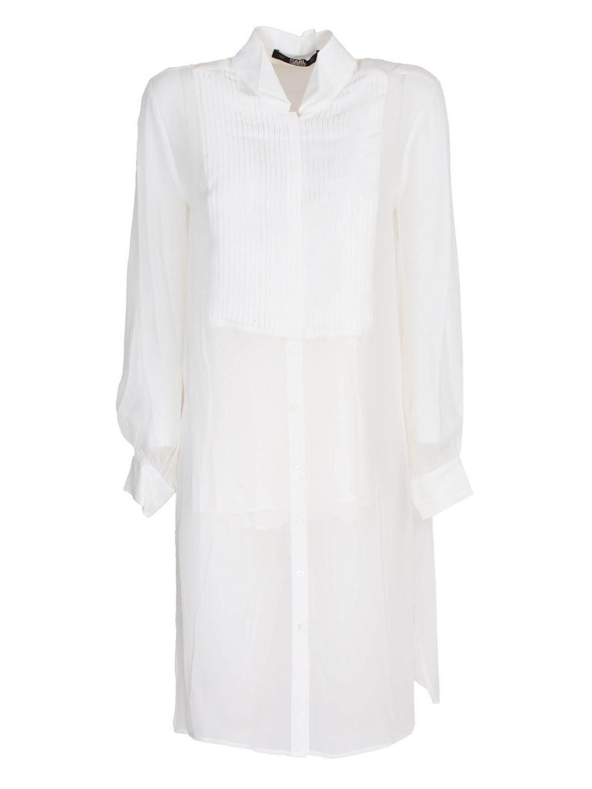 Karl Lagerfeld LONG SILK SHIRT IN WHITE