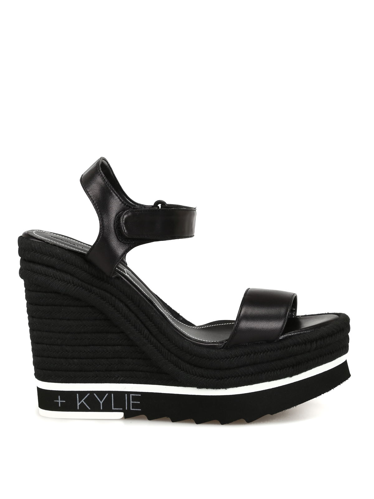 c9f2bc8cdc8 Kendall + Kylie - Glamor black leather wedge sandals - sandals ...