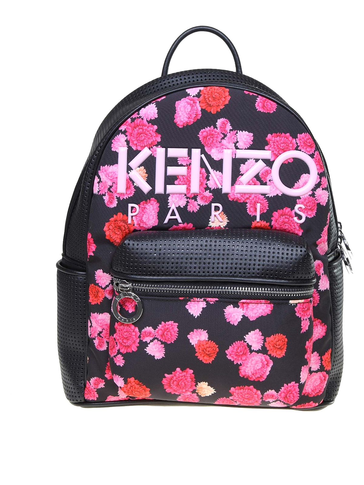 Kenzo Kombo Peonie Perforated Eco Leather Backpack In Black