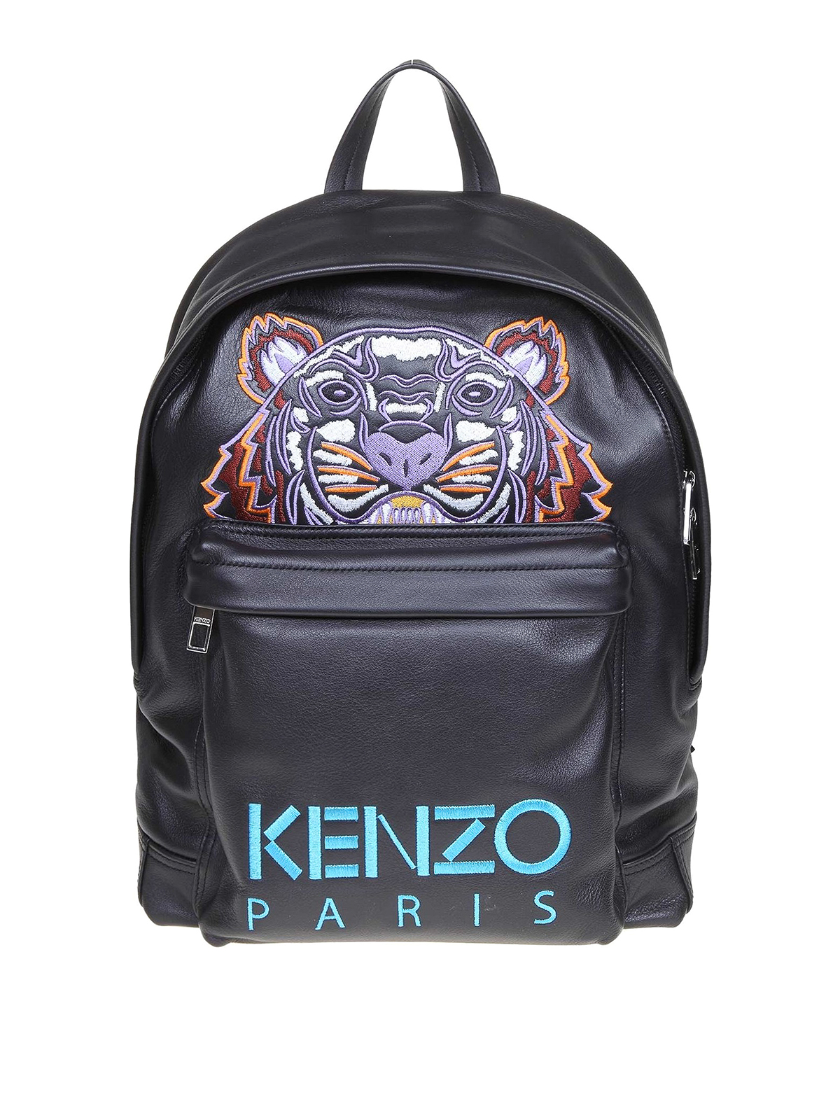Kenzo Tiger Embroidery Black Leather Backpack