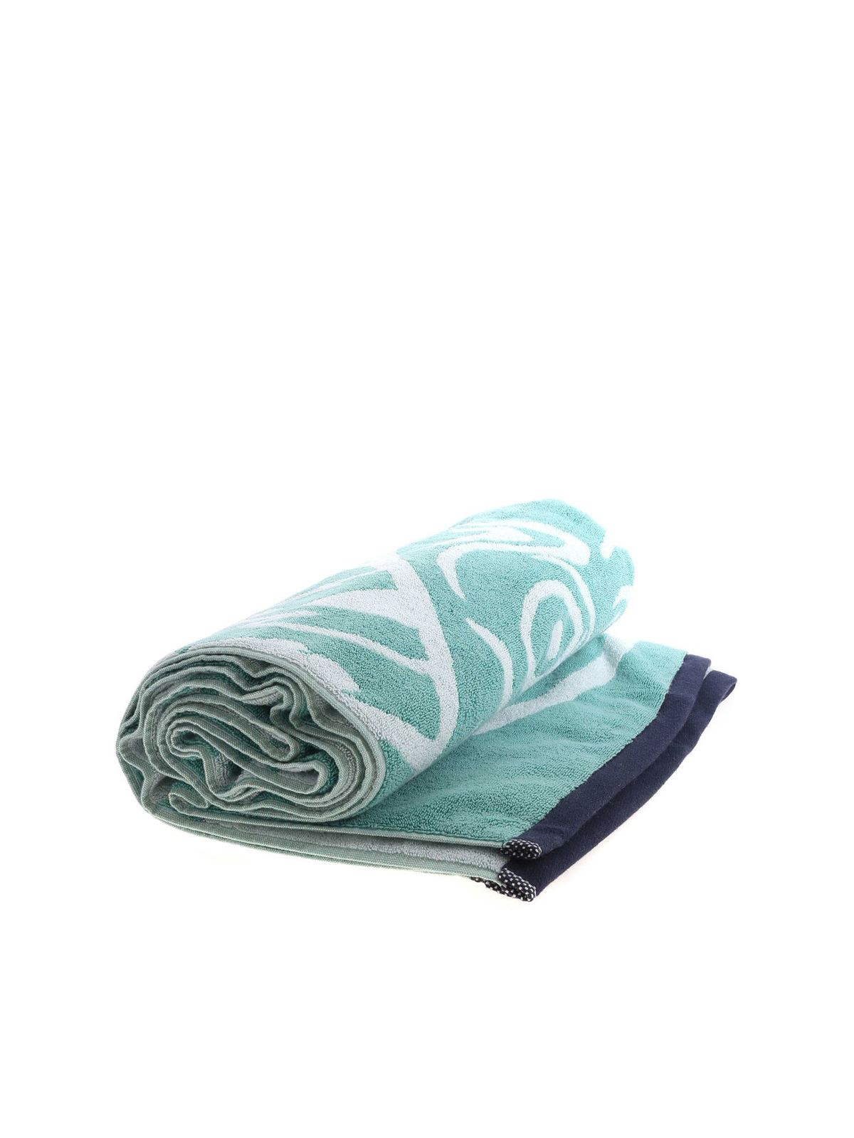 Kenzo TIGER PRINT BEACH TOWEL IN AQUAMARINE COLOR