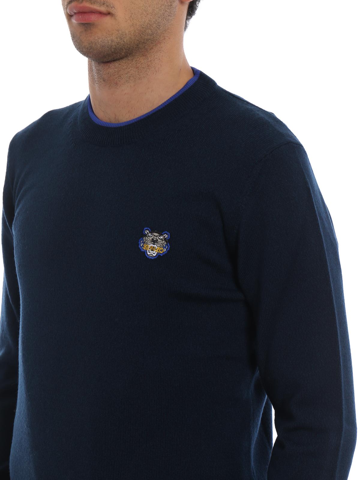 171c7c53 Kenzo - Pull girocollo in lana con bordi a contrasto - maglia collo ...
