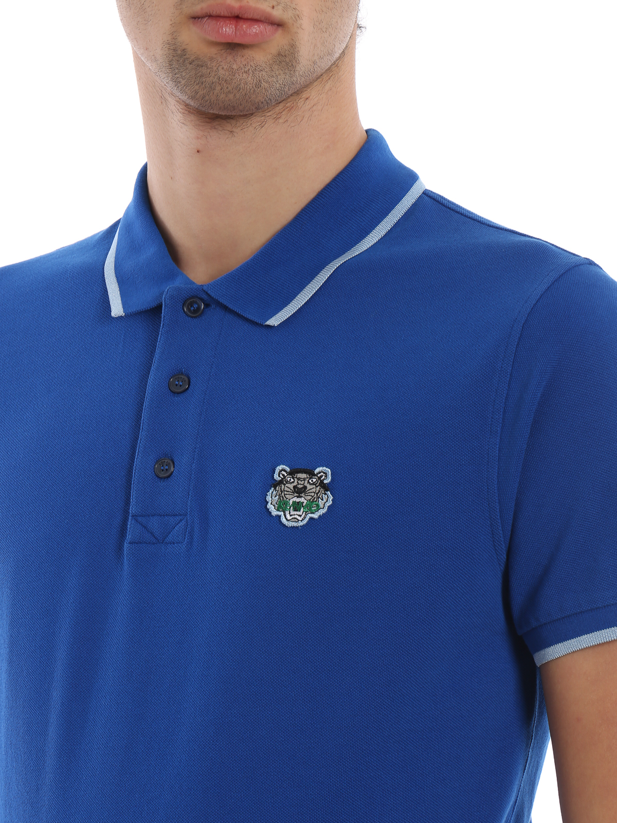 a22866627b Kenzo - K Fit Tiger crest blue cotton polo shirt - polo shirts ...