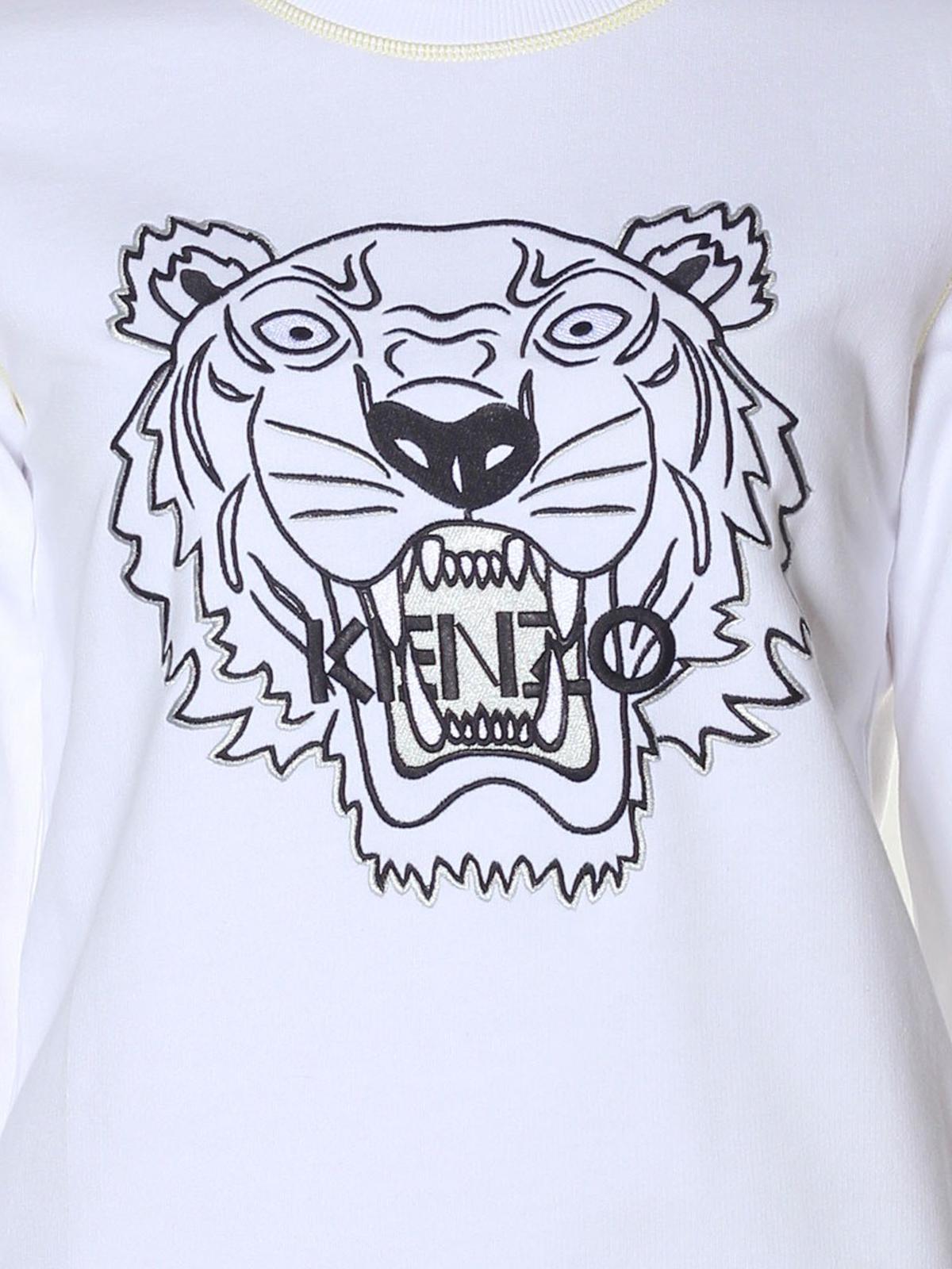 più foto 48f17 a5501 Kenzo - Felpa bianca con ricamo Tiger - Felpe e maglie ...