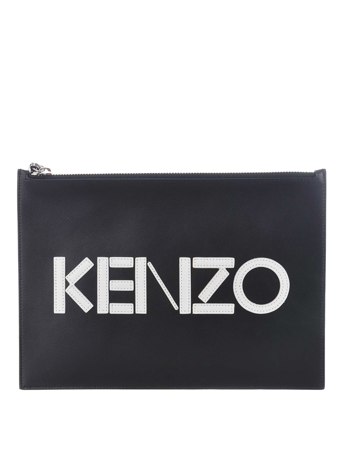 316a0b522a5 Kenzo - Logo lettering leather zip pouch - clutches - F765PM502L4699