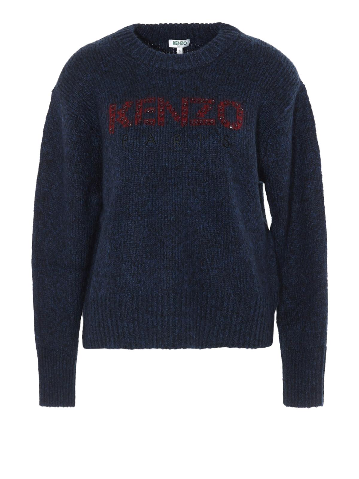 Kenzo Rhinestone Logo Intarsia Sweater In Dark Blue