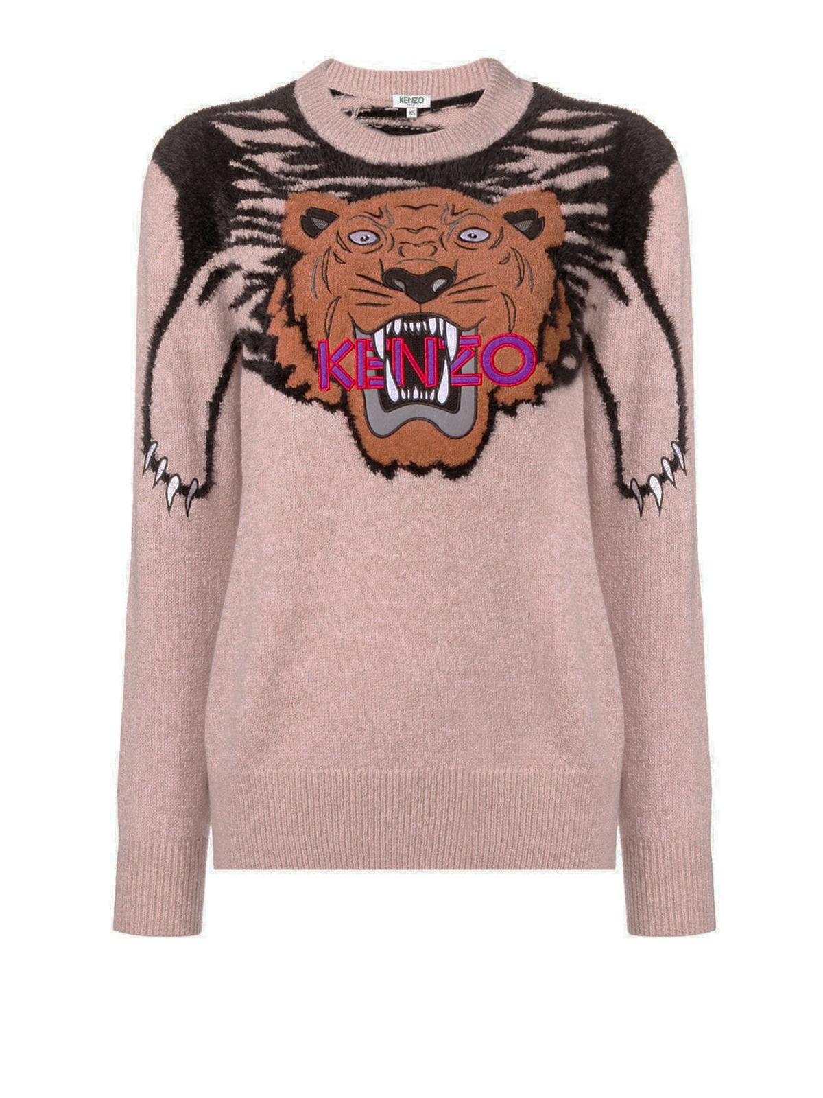 Kenzo Tiger In Con Maglia Lana Maglione Intarsio Misto Collo O0Pwk8n