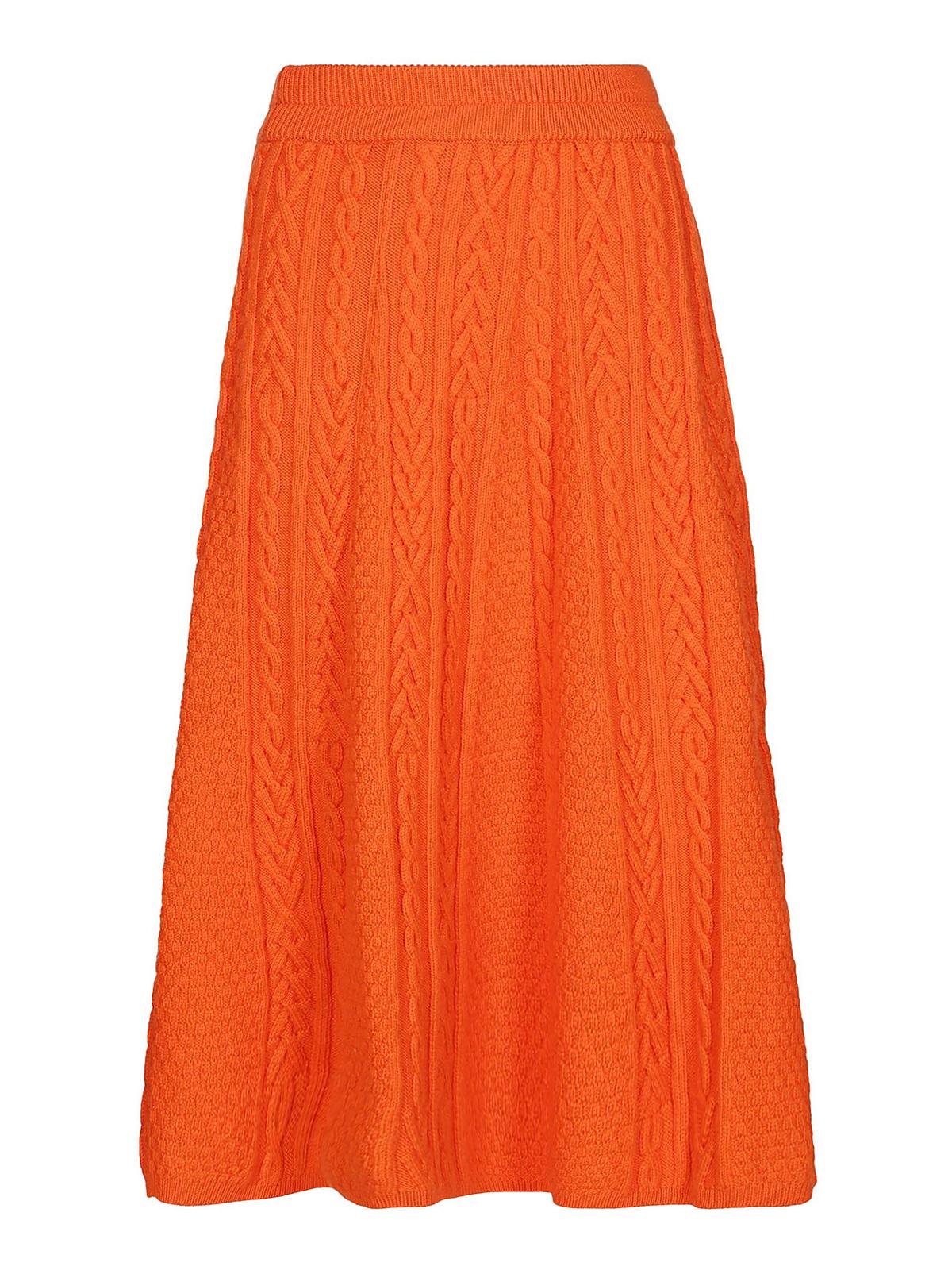 ba5b1bdf1b KENZO: Knee length skirts & Midi - Cable knit wool blend pleated skirt
