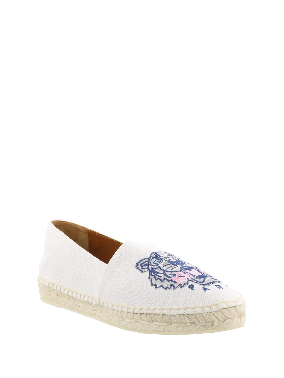 081c4eca KENZO: espadrilles online - Tiger embroidered white espadrilles