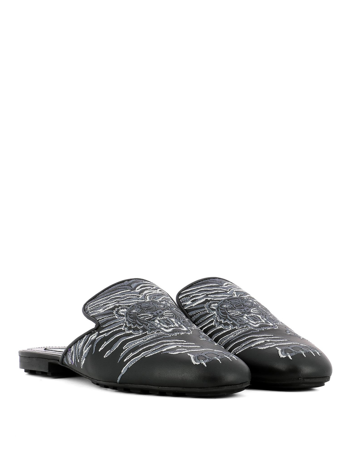 Tiger embroidered leather slippers