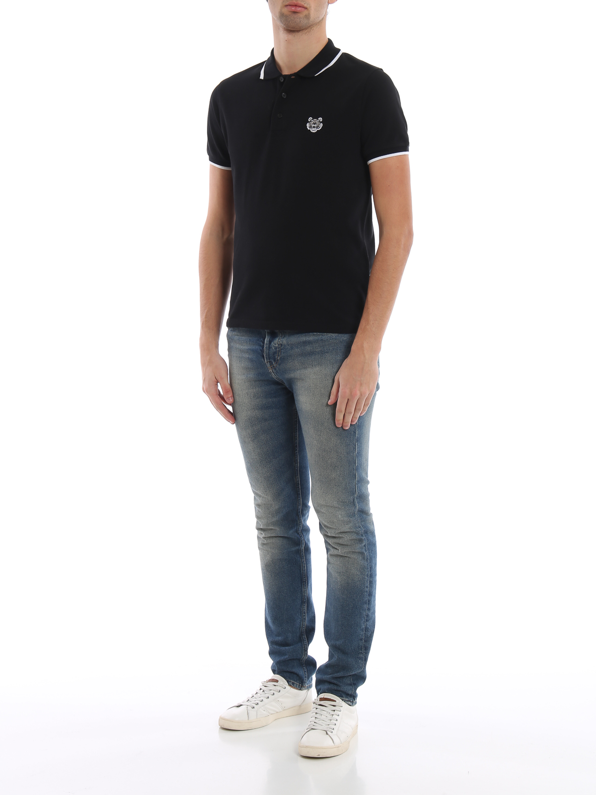 8ccdd492 Kenzo - K Fit Tiger crest black cotton polo shirt - polo shirts ...