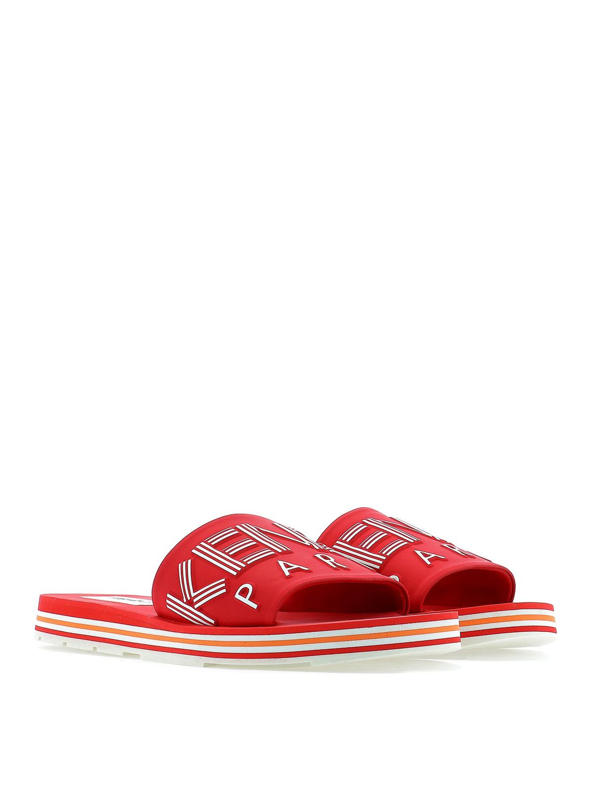 0176492db Kenzo - Red pool slides - sandals - F955MU254F7721   Shop online at ...