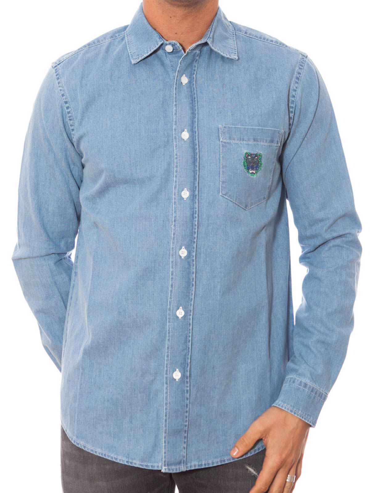 e43d27fb29 Kenzo - Tiger embroidery denim shirt - shirts - F655CH6002EG 64