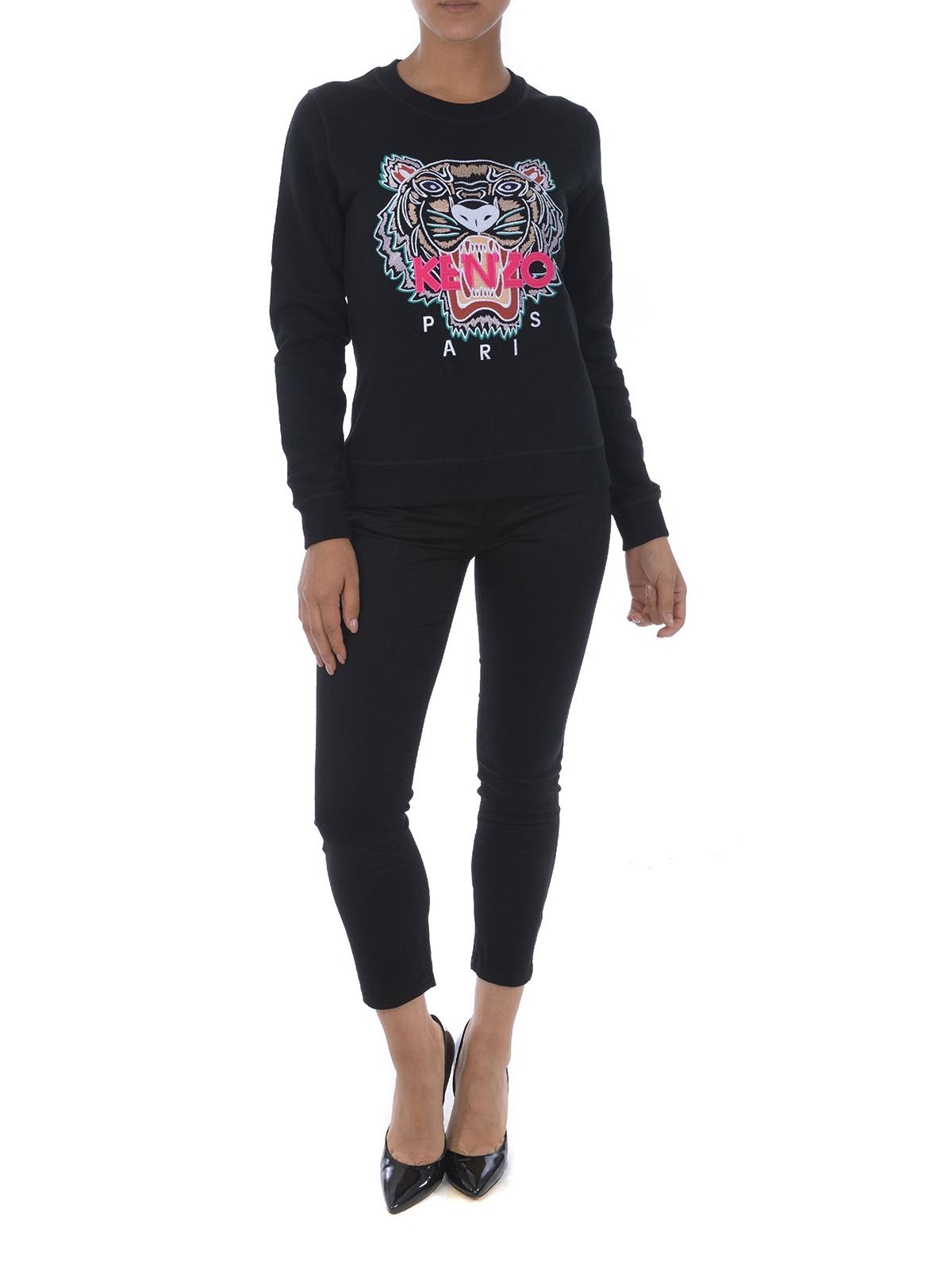 Kenzo Black Tiger embroidery sweatshirt Sweatshirts