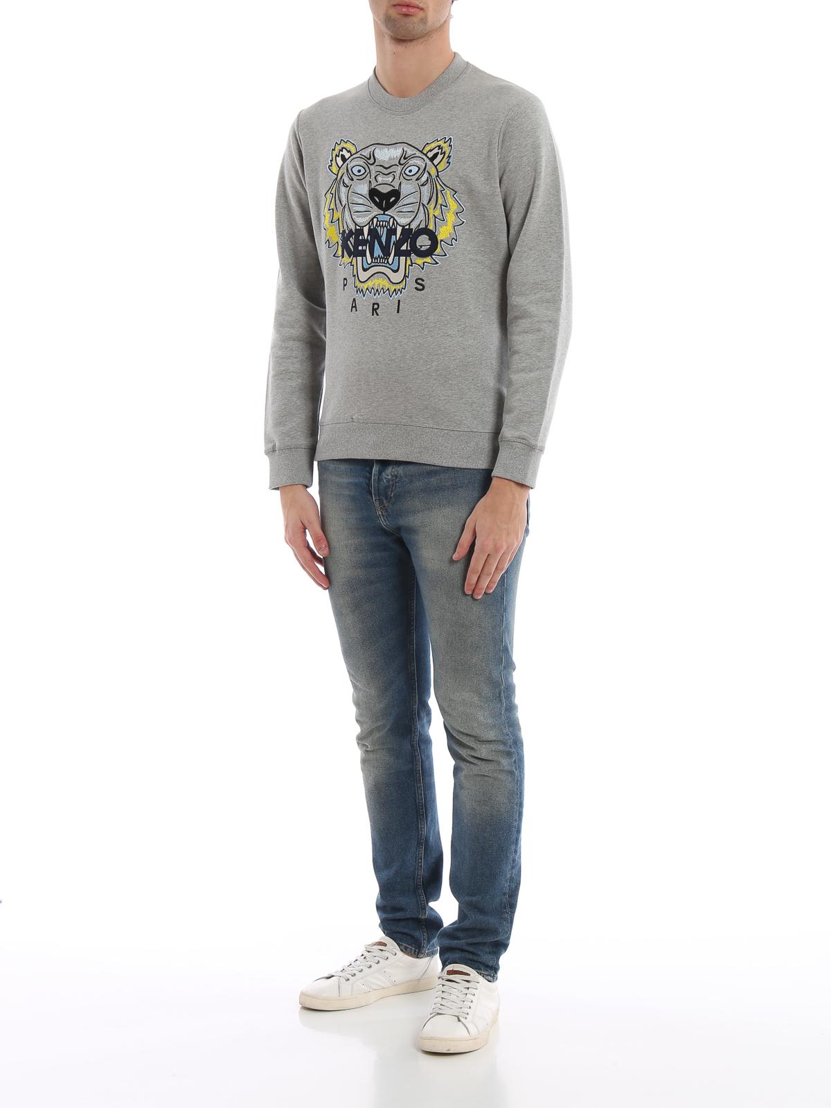 f0fe46f8 KENZO: Sweatshirts & Sweaters online - Pearl grey cotton Tiger classic  sweatshirt