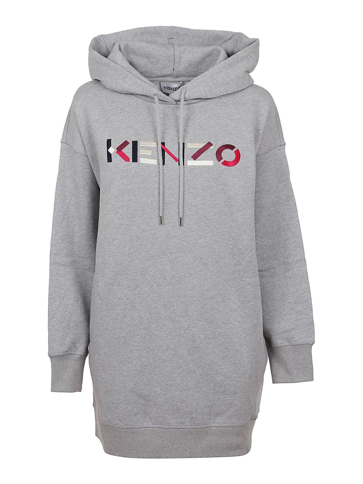 KENZO LOGO EMBROIDERY HOODED DRESS