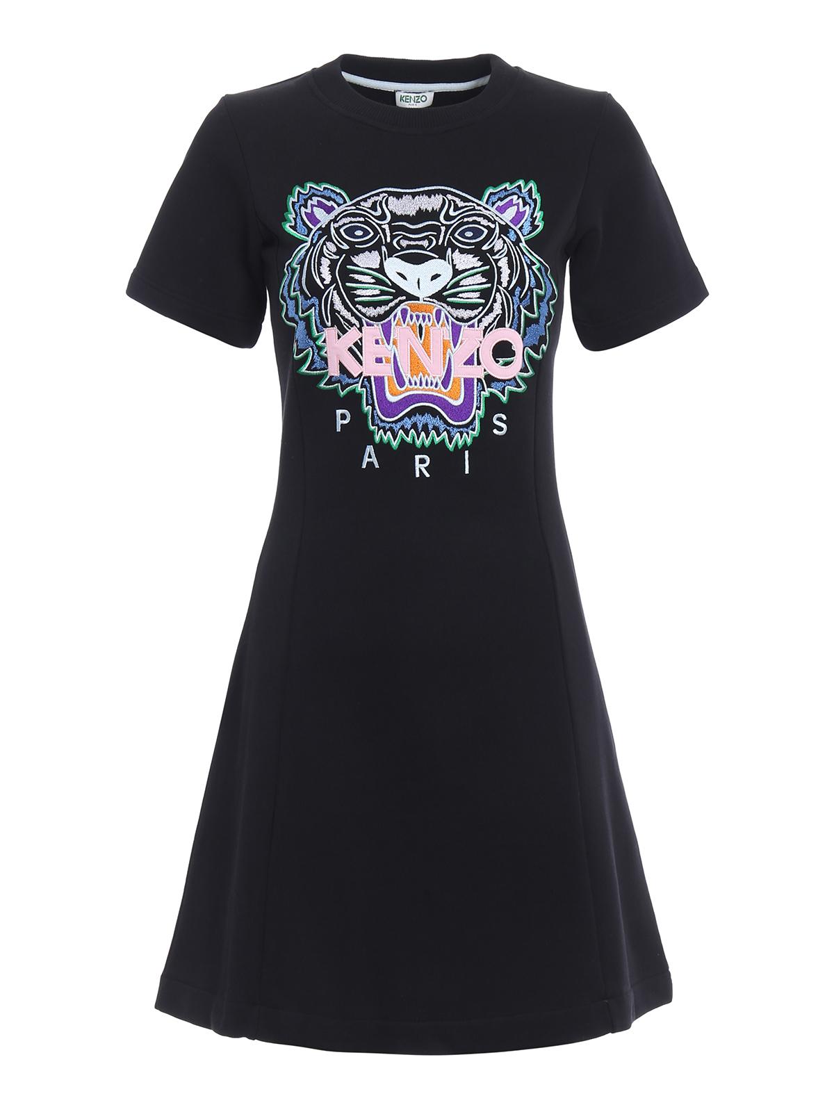 b74b5d87 Kenzo - Tiger embroidery flare summer dress - short dresses ...