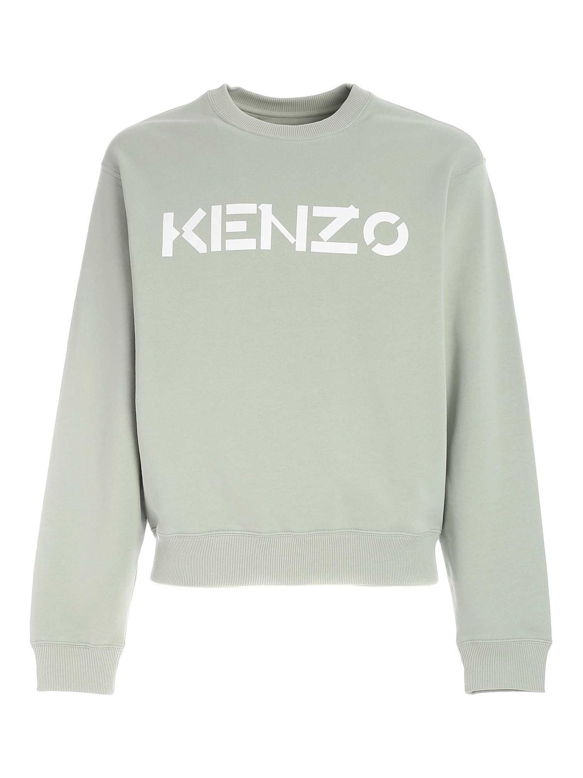 Kenzo Cottons LOGO PRINT SWEATSHIRT IN GREEN