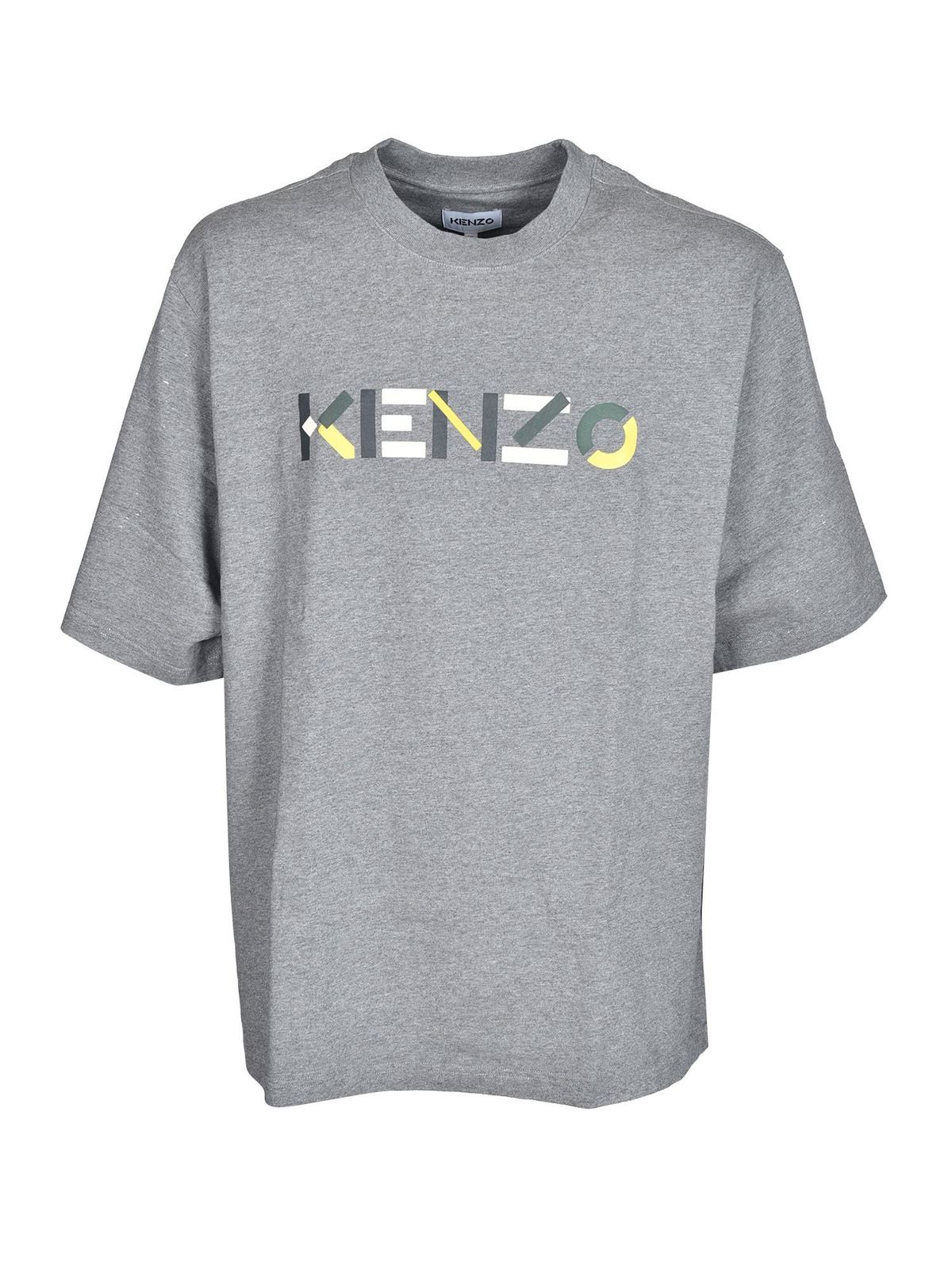 Kenzo MULTICOLOR LOGO SKATE T-SHIRT IN GREY