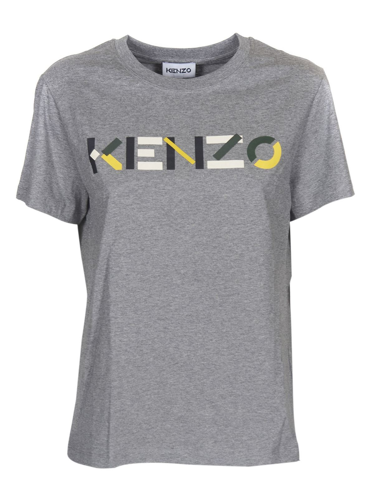 KENZO MULTICOLOR LOGO T-SHIRT IN GRAY