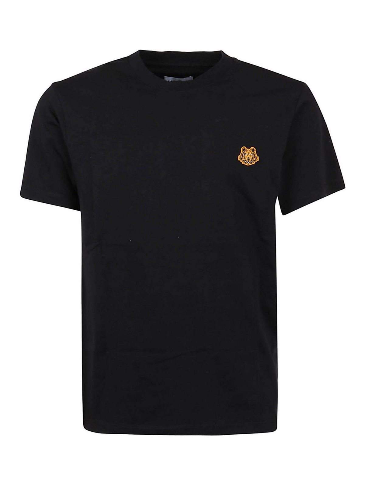Kenzo TIGER PATCH COTTON T-SHIRT IN BLACK