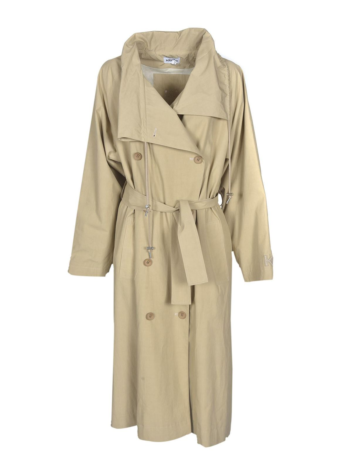 Kenzo DOUBLE-BREASTED TRENCH COAT IN BEIGE
