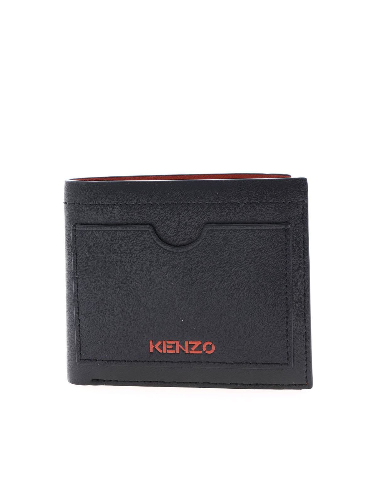 Kenzo Red Logo Wallet In Black