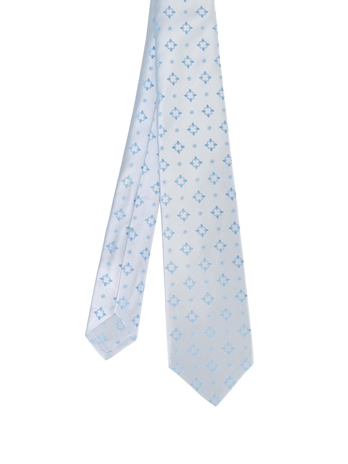 02b674363266 Kiton - Patterned pale blue silk tie - ties & bow ties - 9E7201