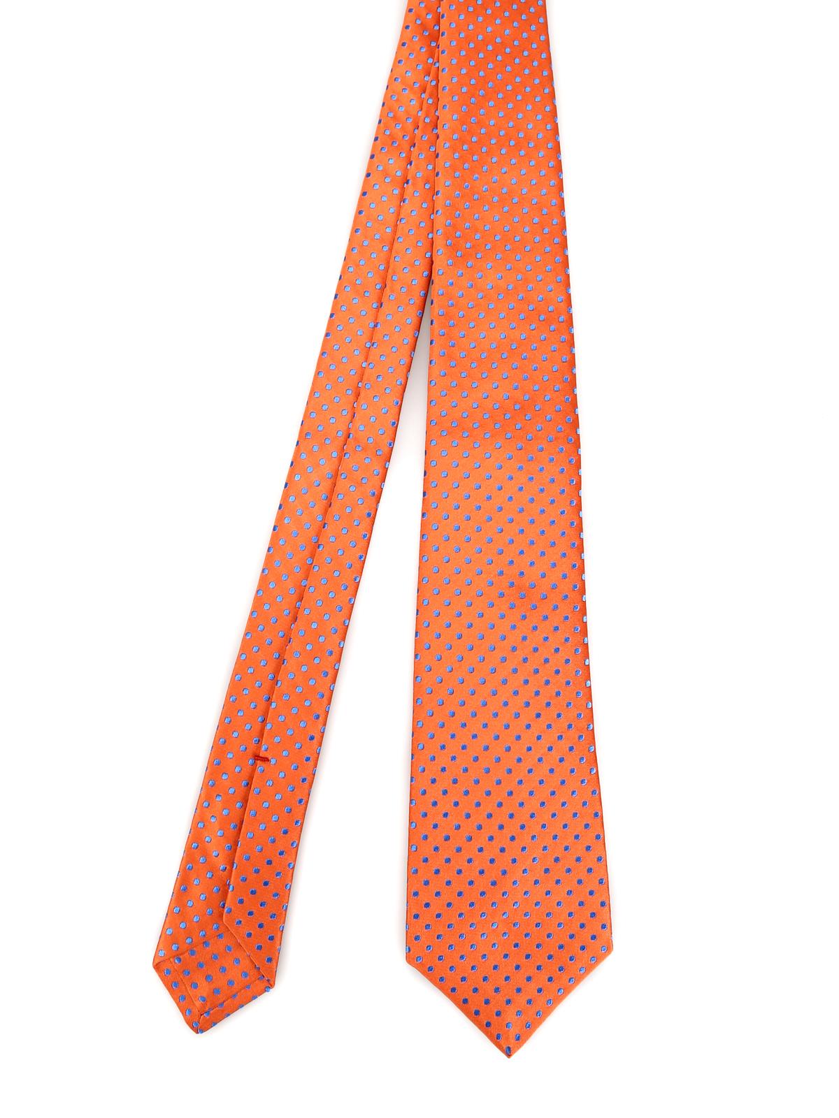 super popular 38a0d 0eaf6 Kiton - Cravatta in seta arancio a pois blu - cravatte e ...