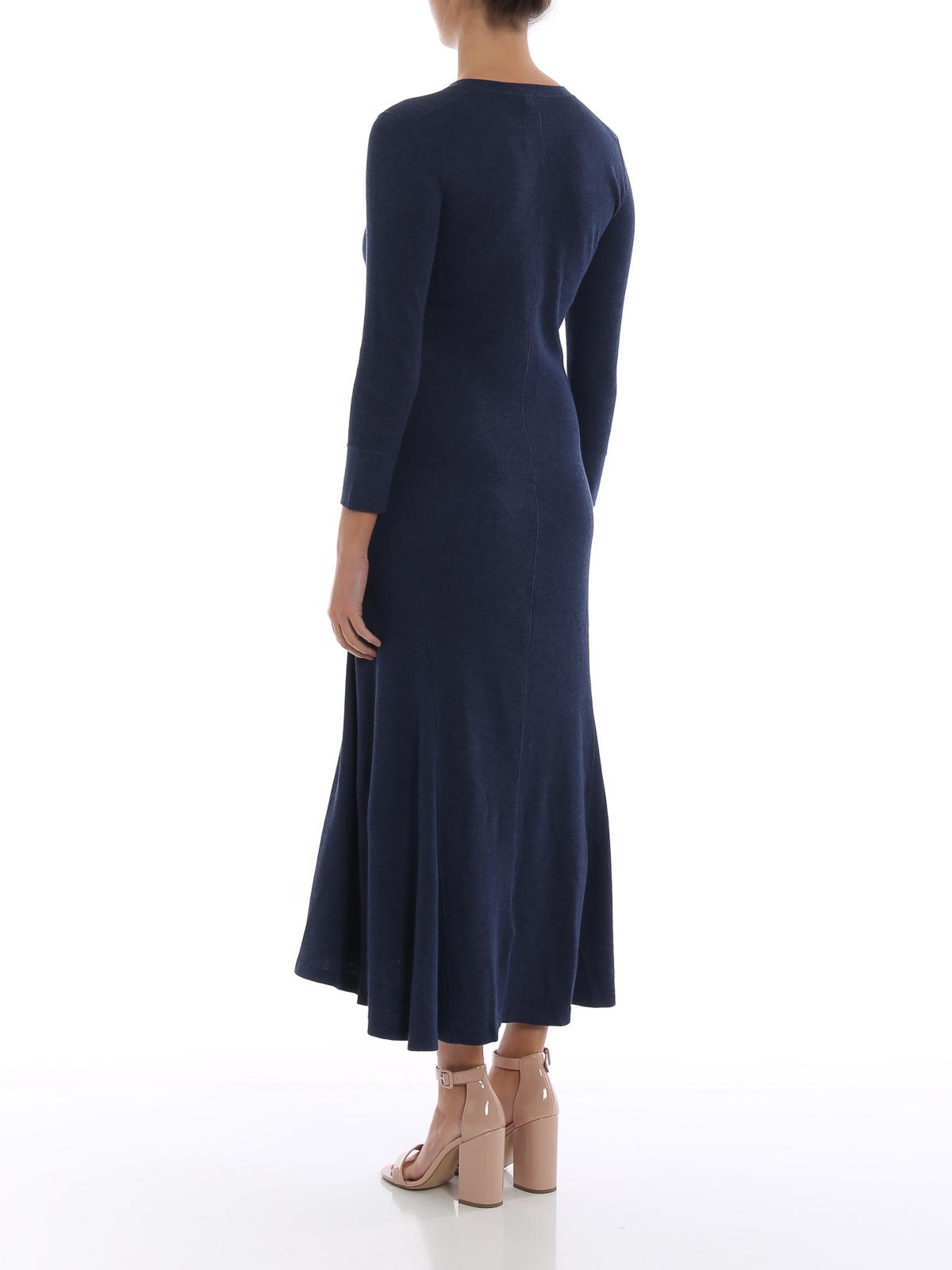d7eb83977 Polo Ralph Lauren - Knit cotton blend flared dress - maxi dresses ...