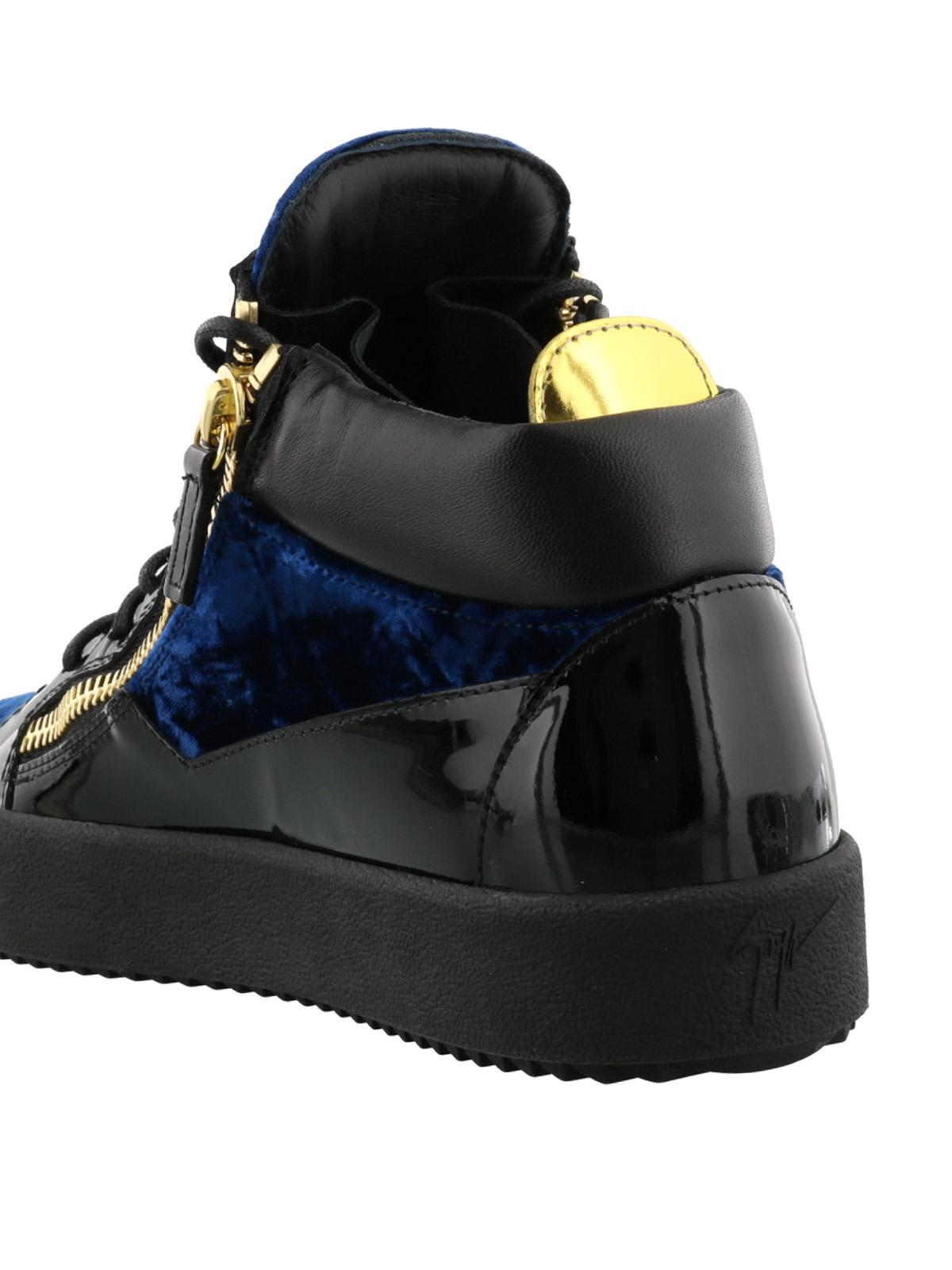 Giuseppe Zanotti Sneaker Kriss velluto blu e vernice