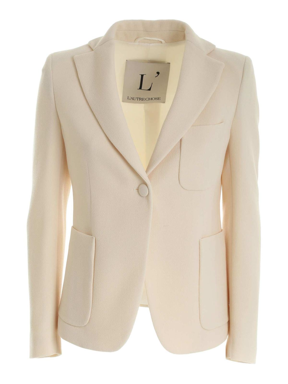 L'autre Chose WOOL CREPE SINGLE-BREASTED JACKET IN CREAM CO