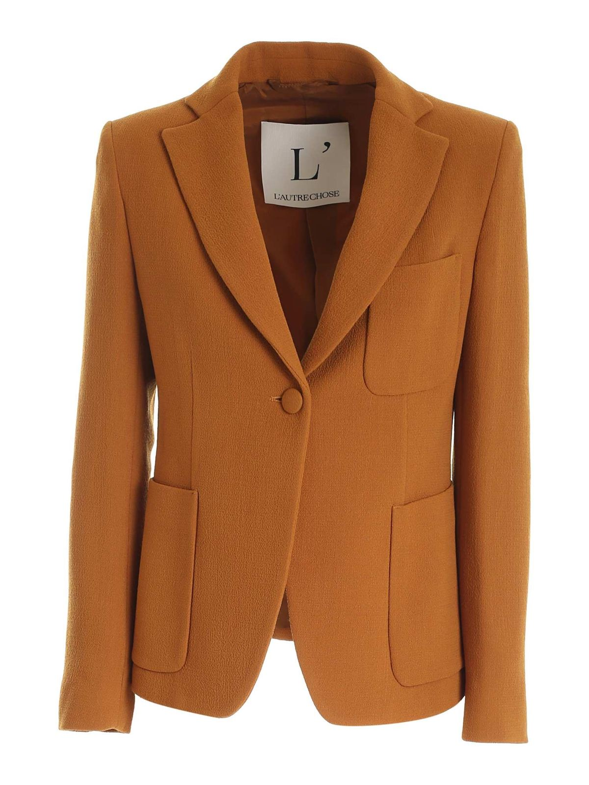 L'autre Chose WOOL SINGLE-BREASTED JACKET IN OCHER COLOR