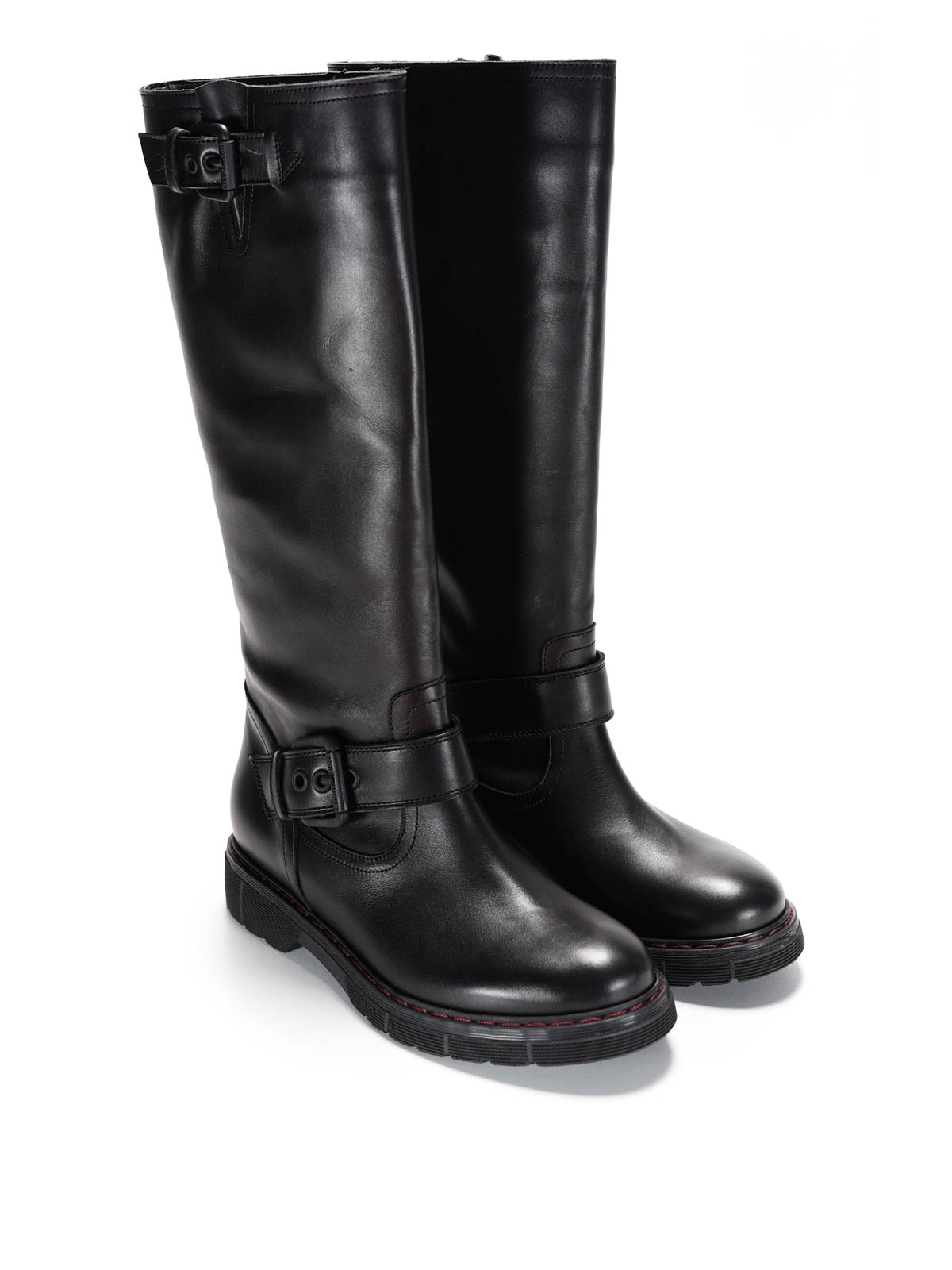 l 39 autre chose buckles leather boots boots ldb314. Black Bedroom Furniture Sets. Home Design Ideas