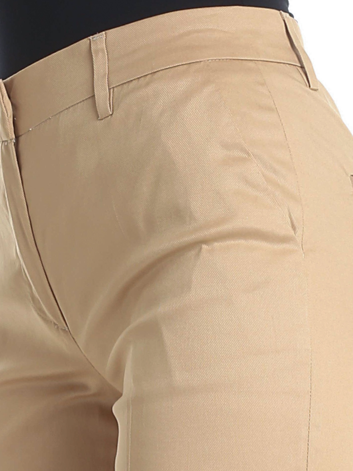 L' Autre Chose - Camel cotton twill pants with turn-ups