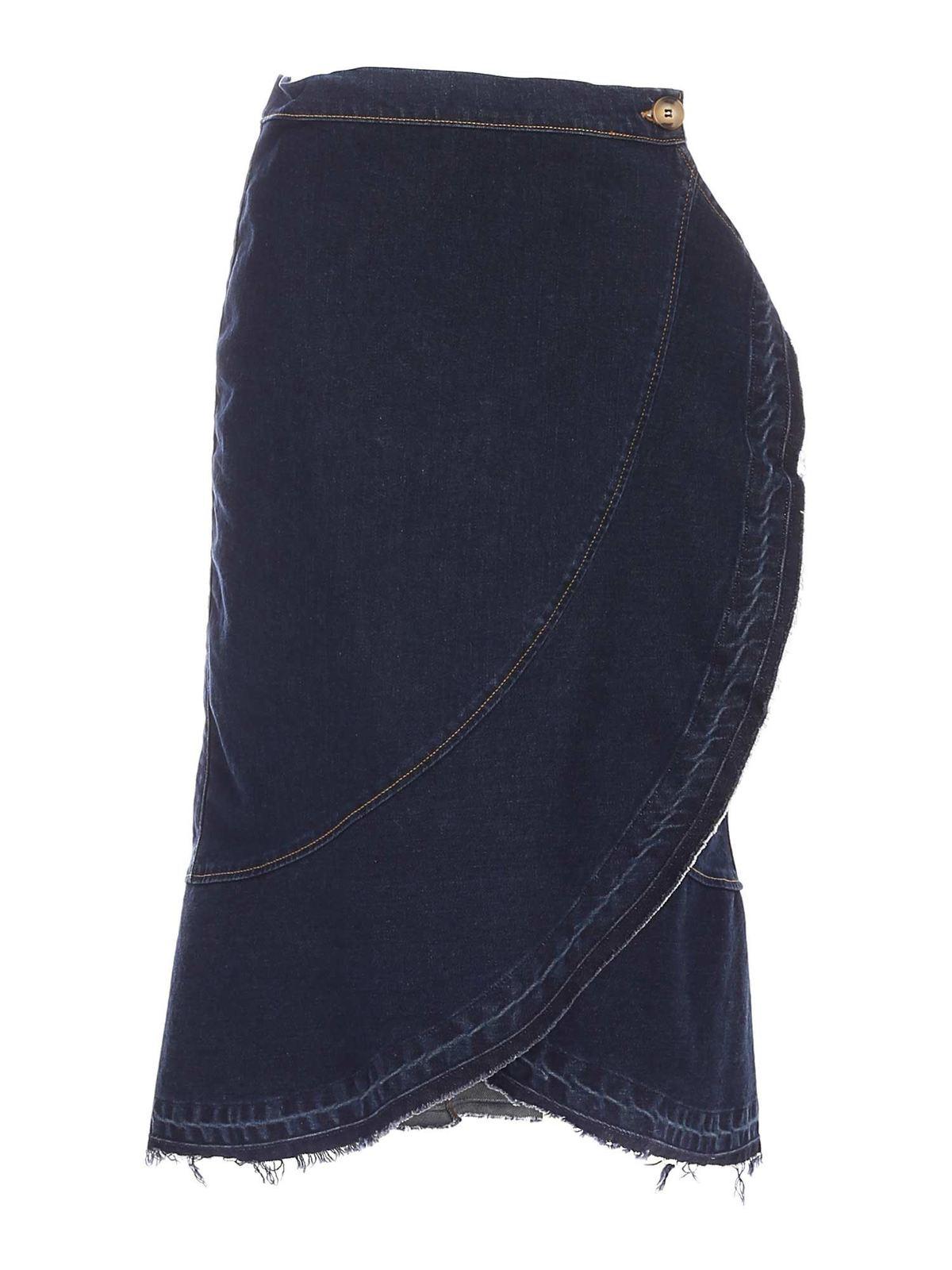 L'autre Chose Midi skirts WRAP DENIM SKIRT IN BLUE