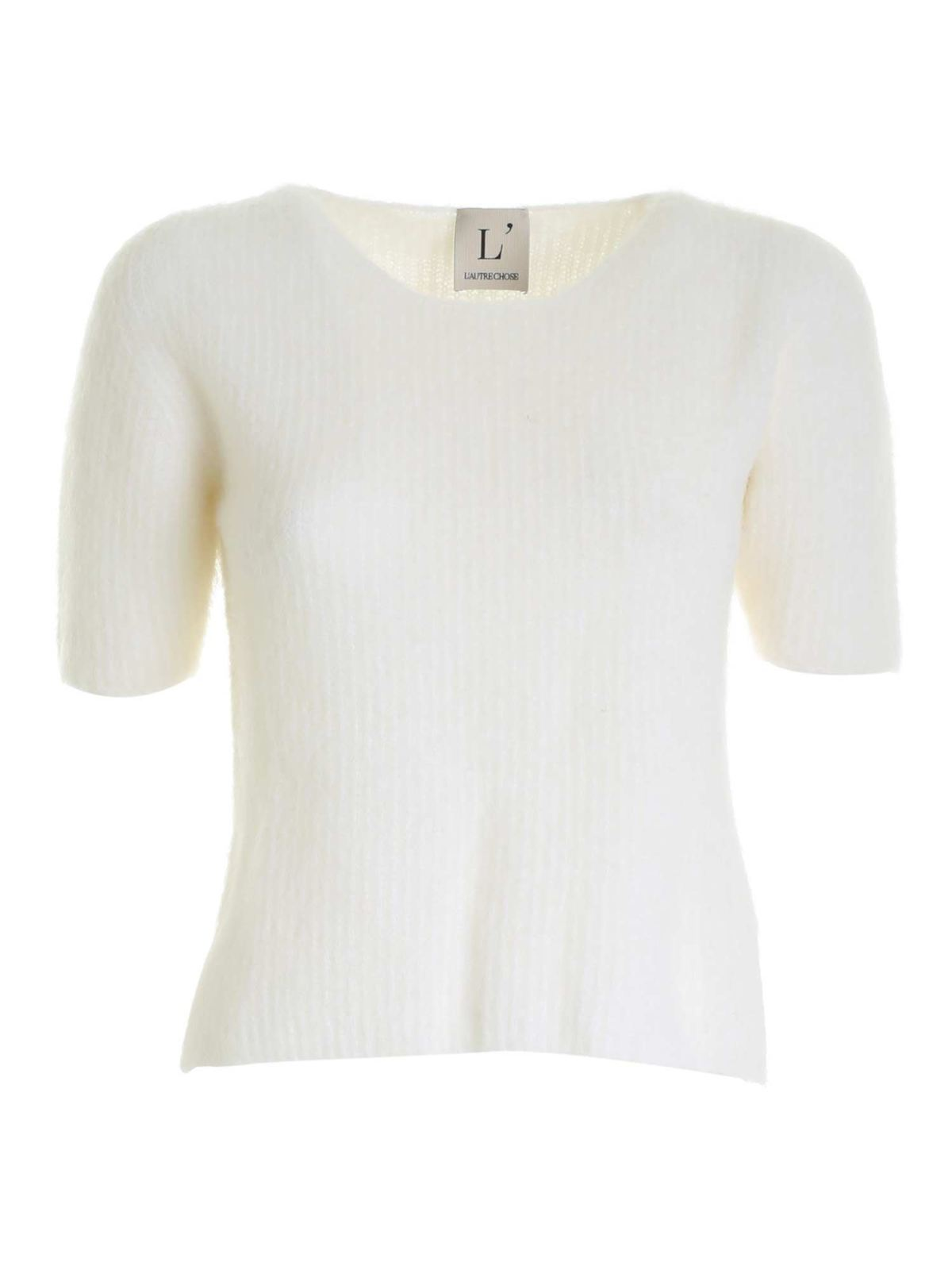L'autre Chose SHORT SLEEVES TOP IN WHITE