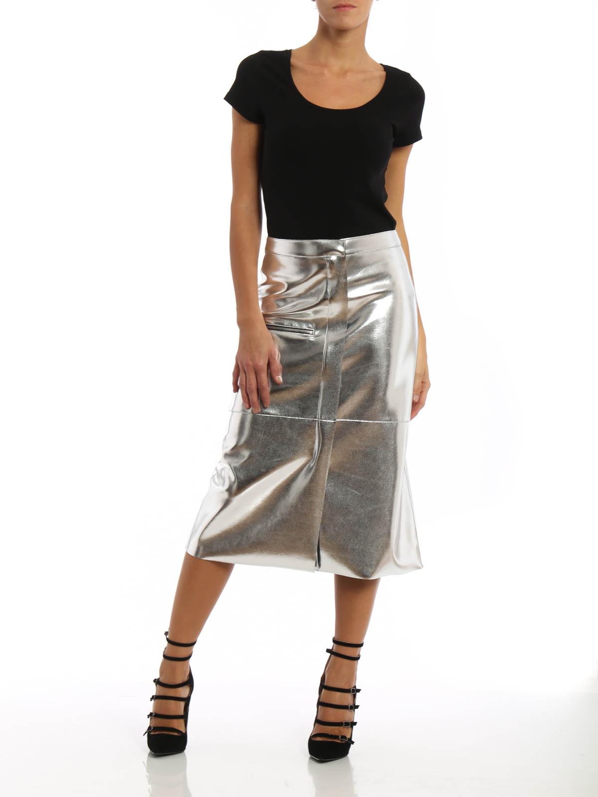 3a04eb9110 Golden Goose - Laminate leather effect midi skirt - Knee length ...