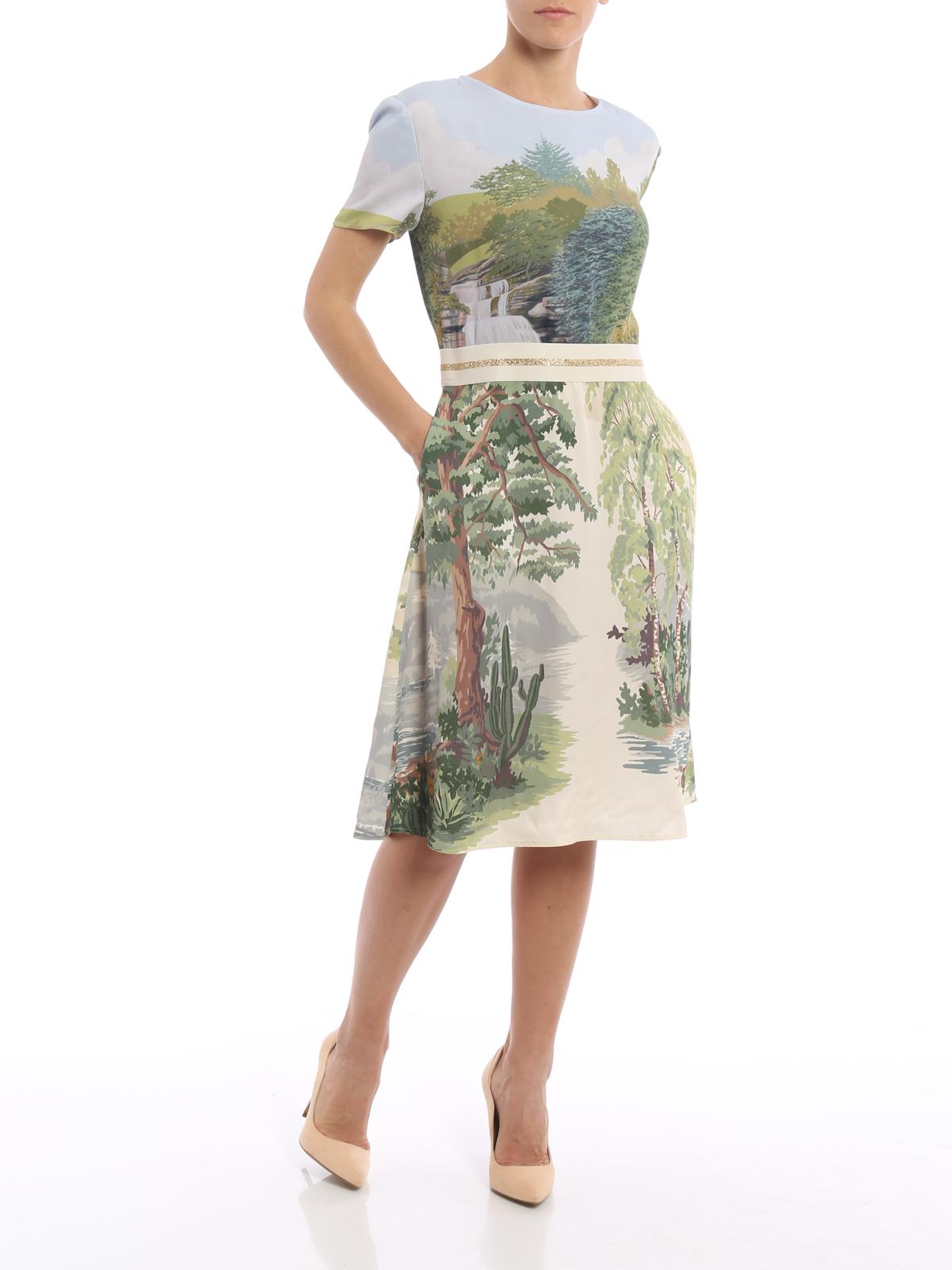 Stella Mccartney Landscape Print Viscose Dress Knee