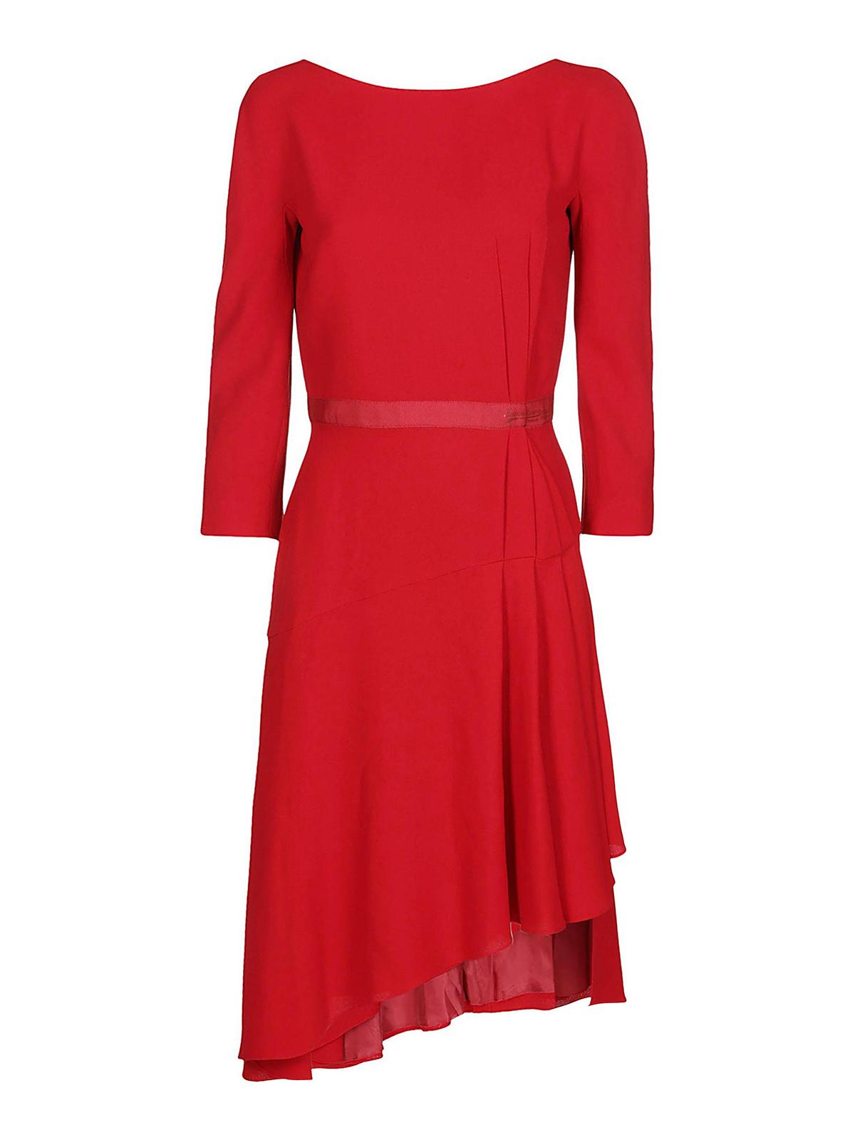 Lanvin ASYMMETRICAL PLEATED LONG SLEEVE DRESS