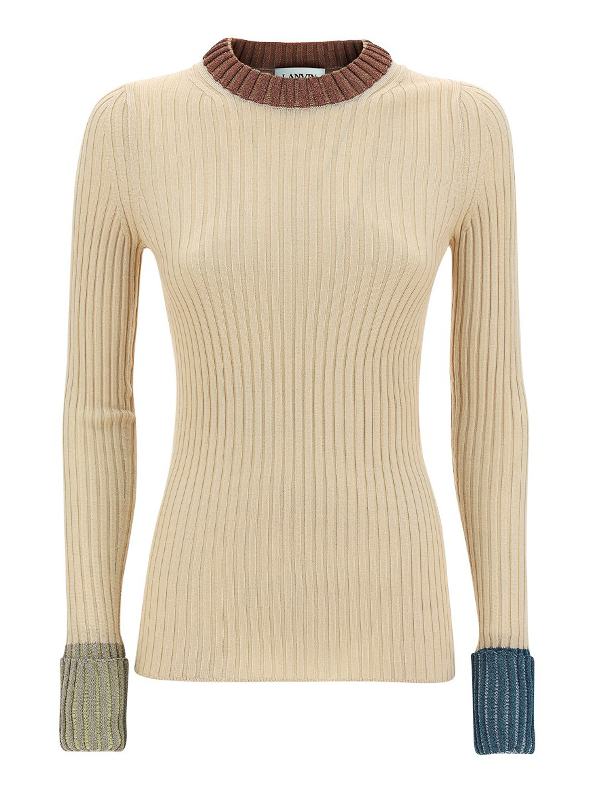 Lanvin RIBBED WOOL BLEND CREW NECK
