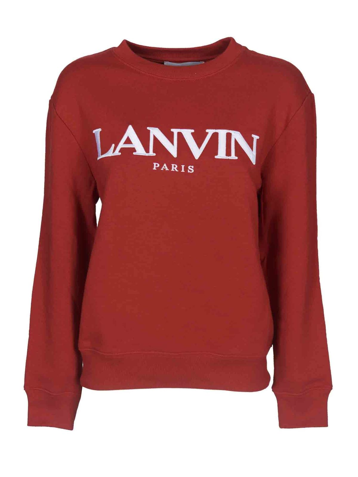 Lanvin Cottons EMBROIDERED LOGO SWEATSHIRT IN BRICK COLOR