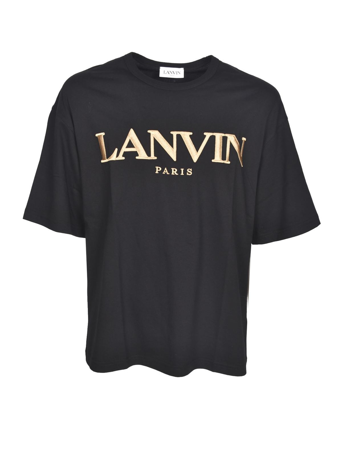 Lanvin BRANDED T-SHIRT IN BLACK AND GOLD