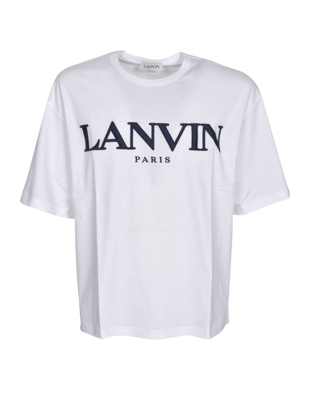 Lanvin BRANDED T-SHIRT IN WHITE AND BLACK